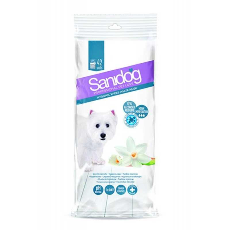 Sanidog Wipes White Musc - мокри кърпички с бял мускус 42бр