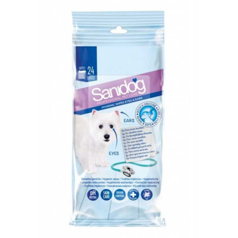 Sanidog Healthy Eyes&Ears Wipes - почистващи кърпички за очи и уши 24бр