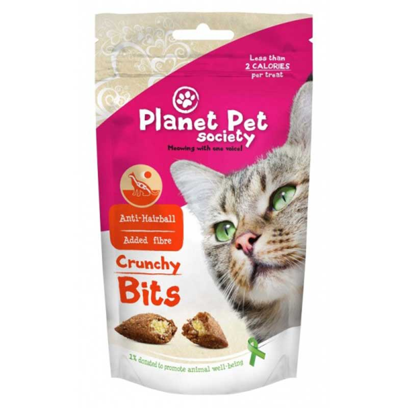 Planet Pet Crunchy Bits for hairball prevention - деликатесно лакомство срещу космени топки 40гр