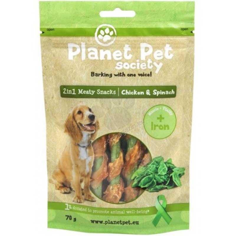 Planet Pet 2 in 1 Meaty Snacks Chicken & Spinach - деликатесно лакомство за кучета с пилешко месо и спанак 70гр