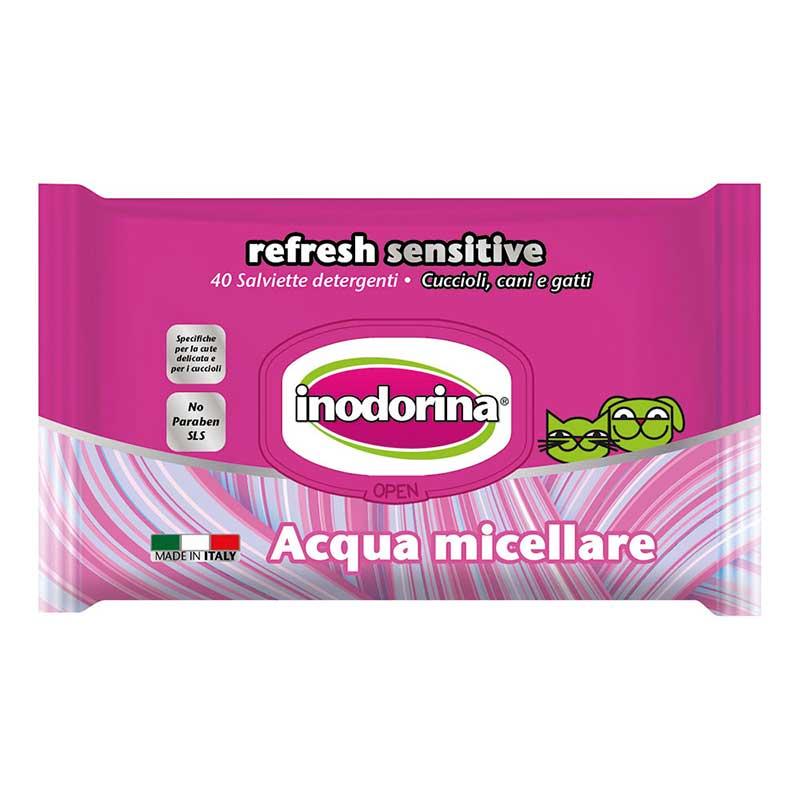 Inodorina Refresh Sensitive - мокри кърпички с мицеларна вода 40бр