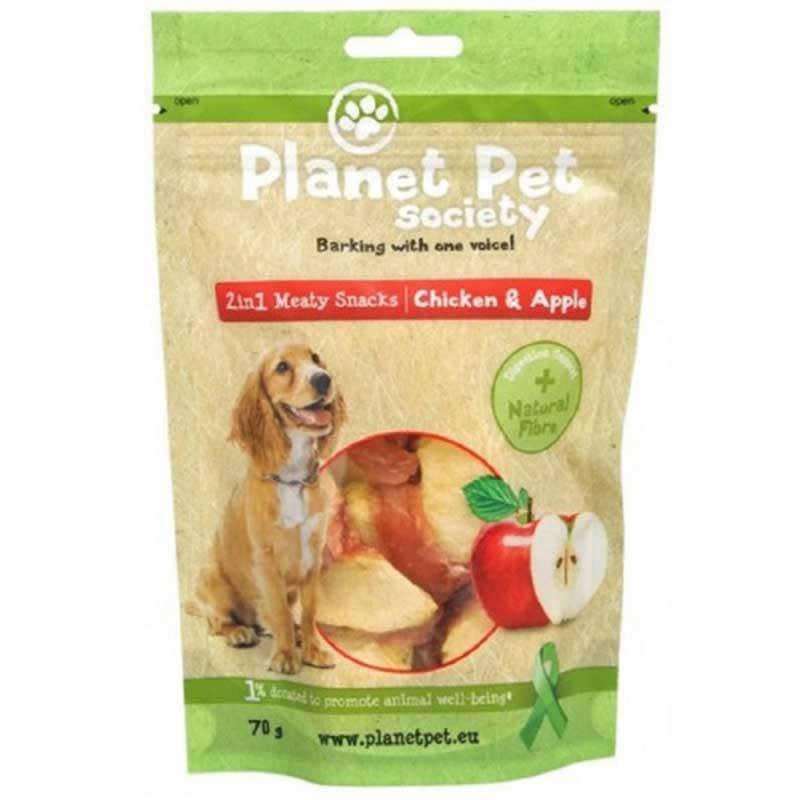 Planet Pet 2 in 1 Meaty Snacks Chicken & Apple - деликатесно лакомство с пилешко месо и ябълки 70гр