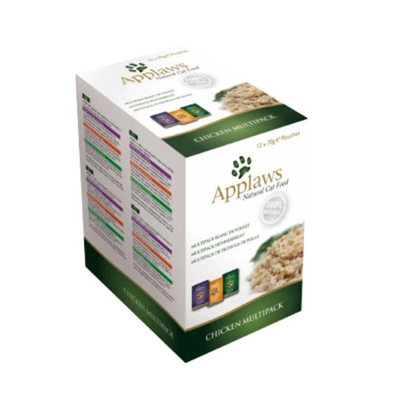 Applaws Chicken in Broth Multipack -  комбиниран пауч с пиле 12бр по 70гр