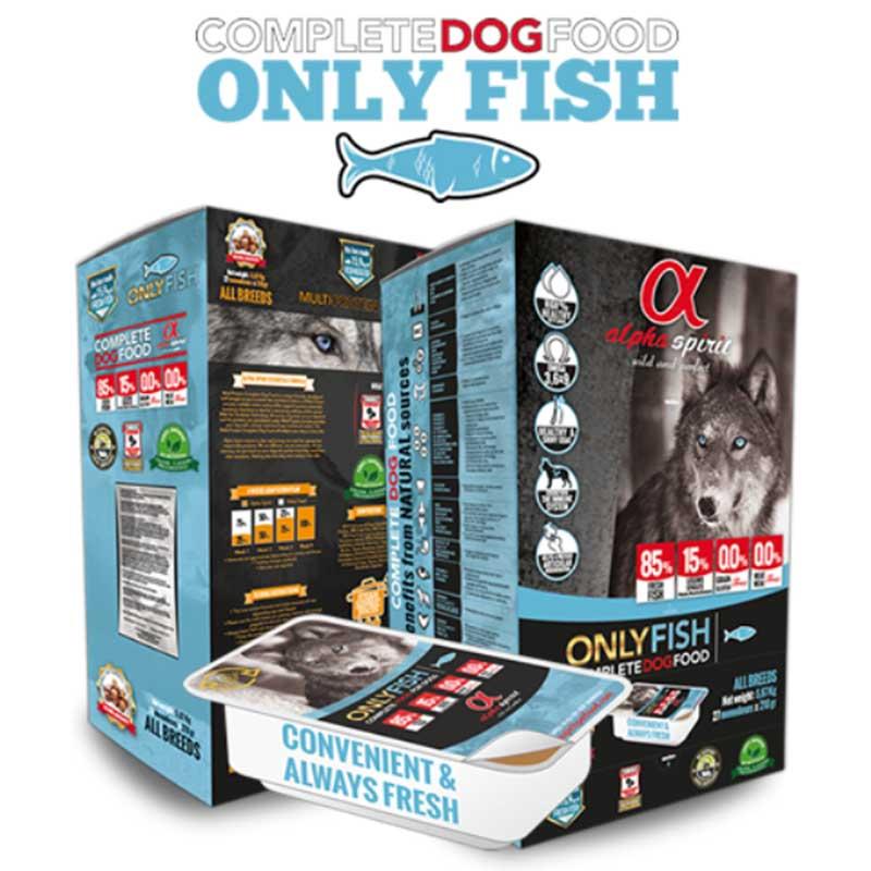 Alpha Spirit Only Fish - полусуха кучешка храна с няколко вида риба
