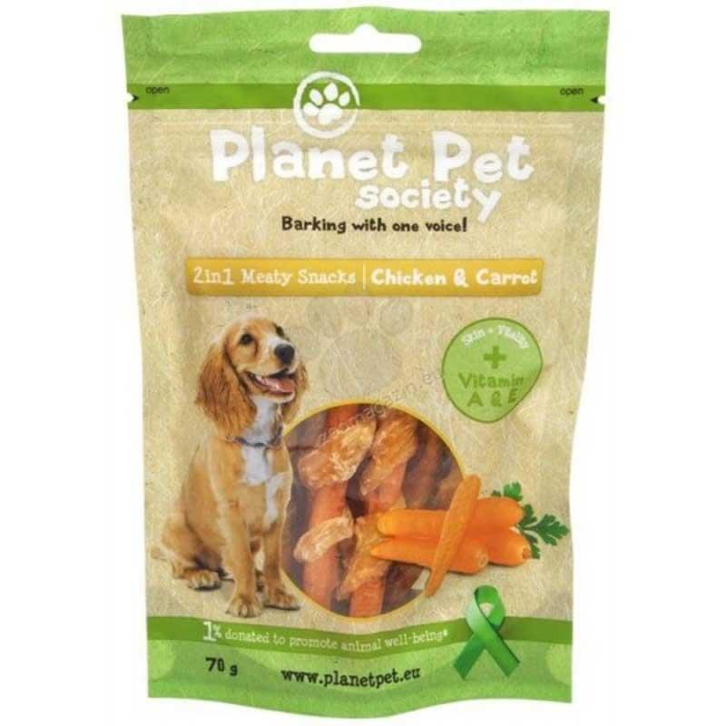 Planet Pet 2 in 1 Meaty Snacks Chicken & Carrot - деликатесно лакомство за кучета с пилешко месо и моркови 70гр