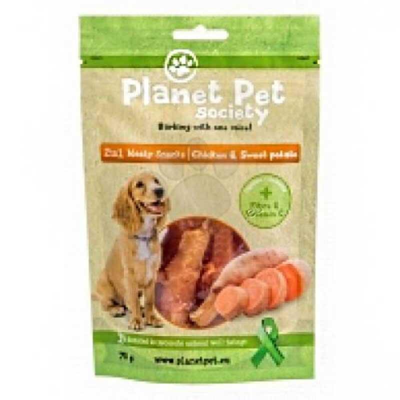 Planet Pet 2 in 1 Meaty Snacks Chicken & Sweet Potato - деликатесно лакомство с пилешко месо и сладки картофи 70гр