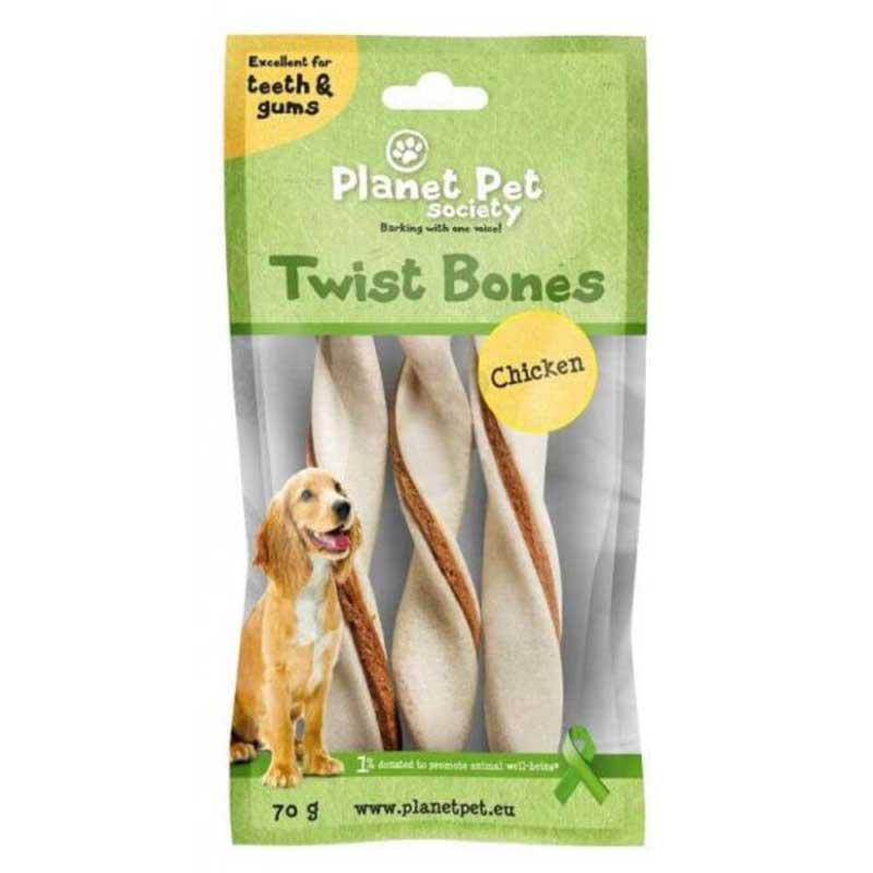 Planet Pet Chicken twist bone - дентално лакомство с пилешко месо