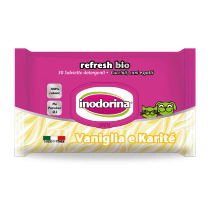Inodorina Refresh Bio - мокри кърпички с ванилия и ший 30бр