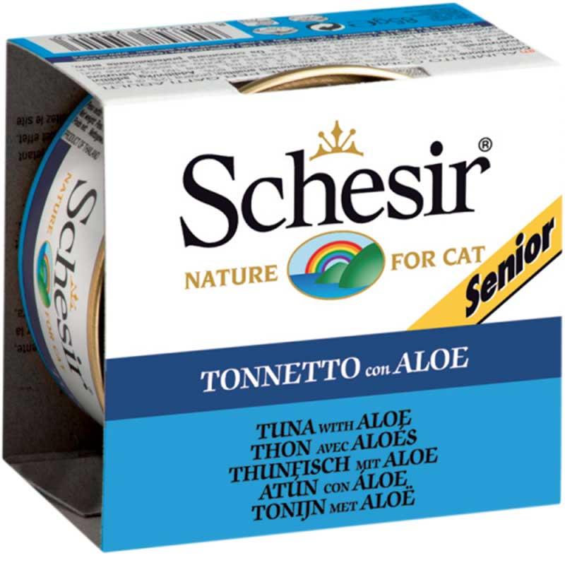 Schesir Nature Tuna and Aloe Senior - с риба тон и алое, за възрастни котки 85гр