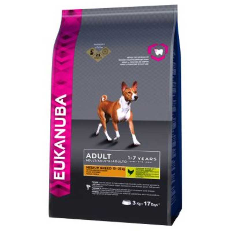 Eukanuba Dog Adult Chicken Medium Breed - за кучета от средни породи до 25кг