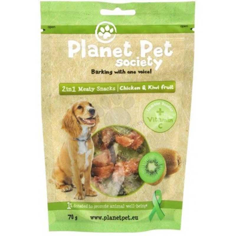 Planet Pet 2 in 1 Meaty Snacks Chicken & Kiwi - деликатесно лакомство с пилешко месо и киви 70гр