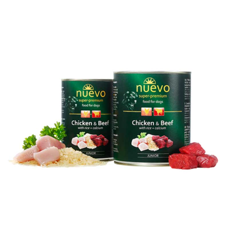 Nuevo Dog Junior Chicken and Beef with Rice and Calcium - с пилешко, говеждо месо и ориз
