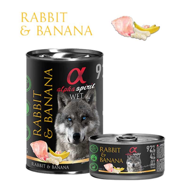 Alpha Spirit Rabbit & Banana - консерва с заешко месо и банан 150гр