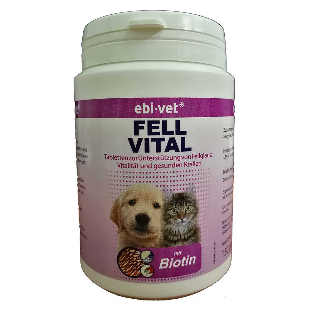 Ebi-Vet Fell Vital - хранителна добавка при кожни заболявания, пърхут, сърбеж, косопад 300табл