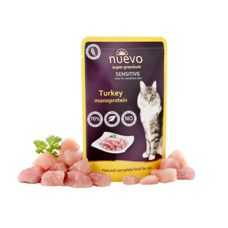 Nuevo Turkey Sensitive - с пуешко месо, за котки с хранителни и кожни алергии 5x85гр