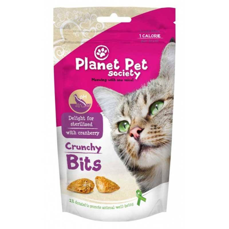 Planet Pet Society Crunchy Bits for sterilized - деликатесно лакомство за кастрирани котки 40гр