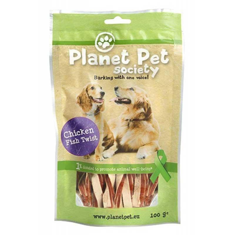 PlanetPet Chicken and tuna twist - лакомство за кучета с пилешко месо и филе от прясна риба 100гр