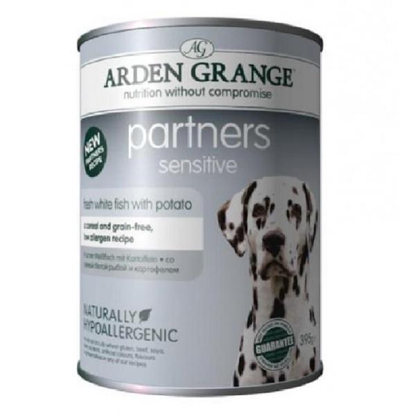 Arden Grange Partners Sensitive - консерва с бяла риба   5бр + 1 безплатна