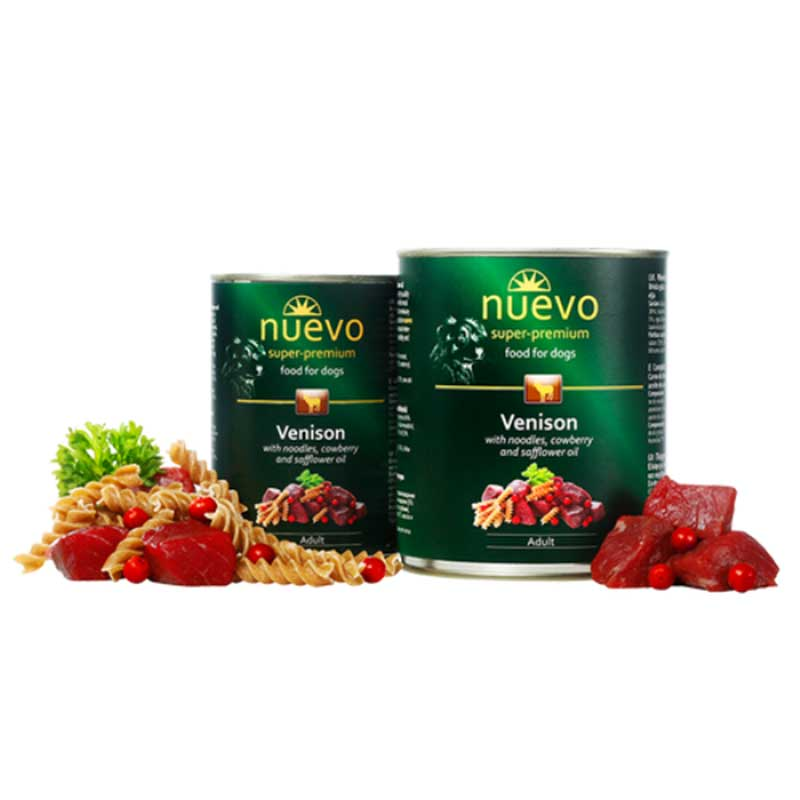 Nuevo Dog Venison with Noodles, Cowberry and Safflower Oil - с еленско месо, юфка, червена боровинка и шафраново масло