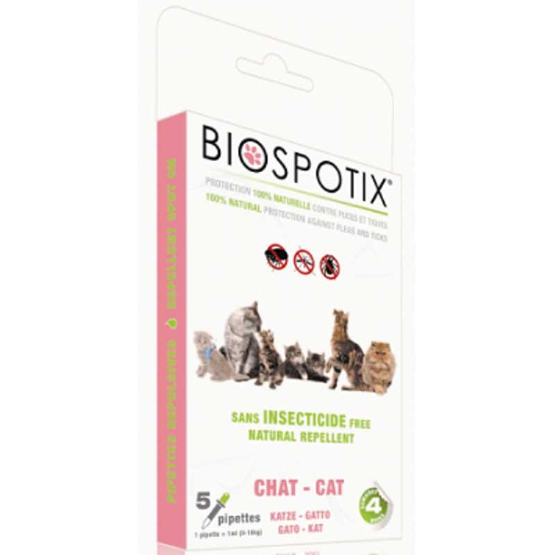 Biospotix Dermocare+ Cat - противопаразитни пипети с натурални етерични масла 5бр