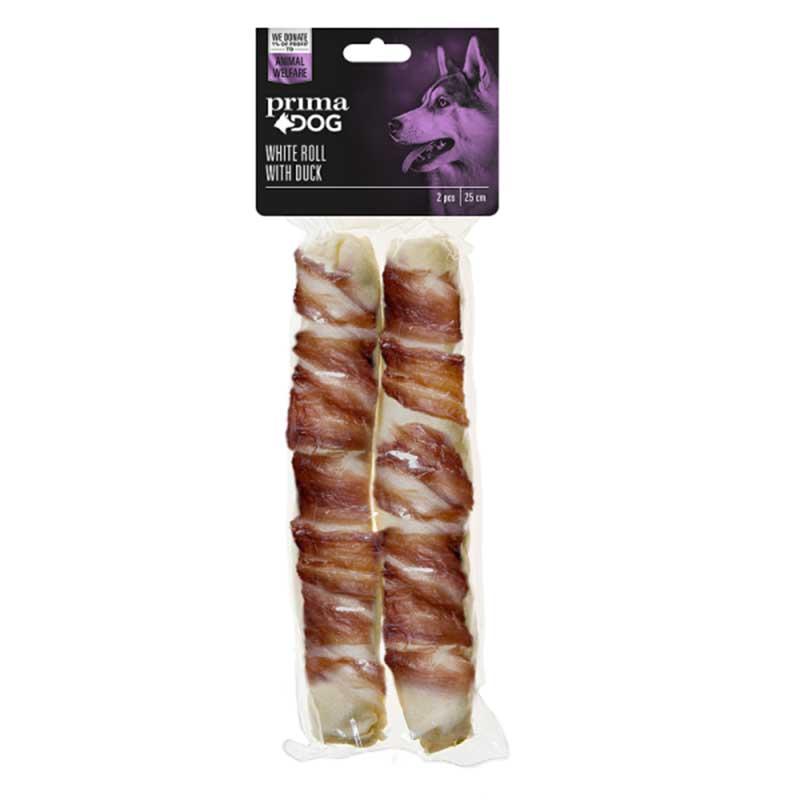 PrimaDog White Roll With duck - лакомство от обработена сурова кожа с патешко месо 25см/2бр